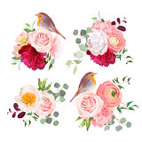 Surprise bouquets and cute robin birds vector design objects. Peachy roses, white and burgundy red peony, carnation, eucalyptus and ranunculus flowers in Royalty Free Stock Images