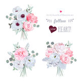 Surprise bouquets of rose, peony, anemone, camellia, brunia flowers and eucalyptus leaves Stock Photos