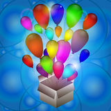 Surprise  box with balloons. Surprise in a box, balloons, vector, Birthday surprise Royalty Free Stock Image