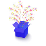 Surprise box with  confetti. Surprise box with flying fireworks from confetti Royalty Free Stock Image
