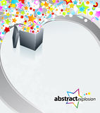 Surprise box design. Vector illustration of a surprise gift box exploding into a flow of rainbow stars and bubbles stock illustration