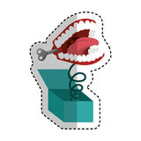 Surprise box with funny Joke teeth icon Stock Image