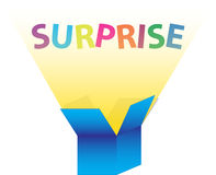 The surprise box. Open blue box with yellow light coming out. The word surprise pops out in the light vector illustration