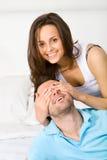 Surprise for boyfriend Stock Photo