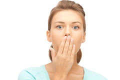 Surprise. Bright picture of woman with expression of surprise Royalty Free Stock Photo