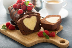 Surprise cake with a heart inside Stock Images