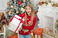 Surprise. Child enjoy the holiday. Christmas tree and presents. Happy new year. Winter. xmas online shopping. Family. Holiday. The morning before Xmas. Little stock images