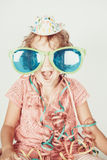Surprise child with sunglass. Surprise lovely little  with party hat and sunglass Stock Photo