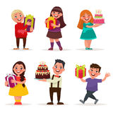Surprise for children. Boys and girls with gifts and birthday ca. Kes. A set of characters on a white background. Vector illustration in cartoon style royalty free illustration