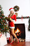 Surprise for Christmas girl Royalty Free Stock Photos