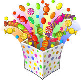 Surprise. Colored cardboard box with different sort of candies Royalty Free Stock Images