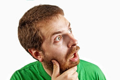 Surprise concept - amazed and confuse man Royalty Free Stock Image