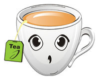 Surprise cup of drink. Surprise cup of tea with sachet with opened mouth vector illustration