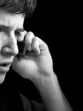 Surprise de téléphone - homme inquiété Photos libres de droits