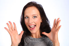 Surprise and delighted expression with big eyes royalty free stock photo
