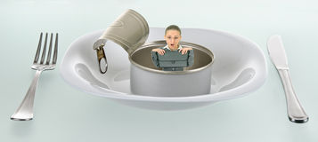 Surprise in empty tin can Stock Photography