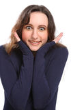 Surprise expression and big eyes by young woman Royalty Free Stock Photos