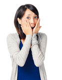 Surprise expression of young girl Stock Photo