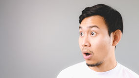 Surprise face on empty copyspace. Stock Photo