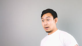Surprise face on empty copyspace. Stock Photos