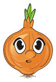 Surprise face of onion. With opened mouth royalty free illustration
