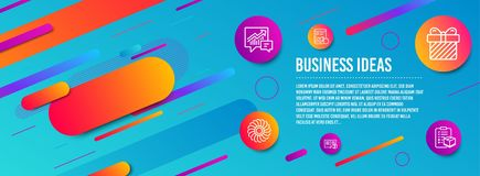 Surprise, Fan engine and Internet report icons set. Accounting, Help and Parcel checklist signs. Vector. Header banner. Surprise, Fan engine and Internet report royalty free illustration