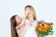 Surprise flower gift present bouquet alstroemeria Royalty Free Stock Images