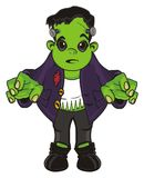 Surprise zombie stand. Surprise Frankenstein stand with opened mouth vector illustration