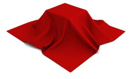Surprise gifn under the red silk cloth on white Royalty Free Stock Photos