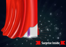 Surprise gift box with red curtain design. Created surprise gift box with red curtain design template- vector eps10 stock illustration