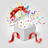 Surprise gift box. Empty open holiday present giftbox with red ribbons, bow and confetti vector illustration vector illustration