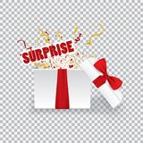 Surprise gift boxing.Opened 3d realistic gift box with red bow and confetti. Vector illustration Royalty Free Stock Images