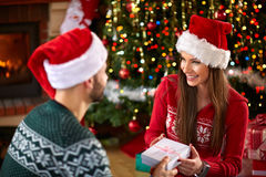 Surprise with gift for Christmas Royalty Free Stock Photo
