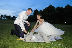 Surprise Gift For The Bride And Groom Stock Photography