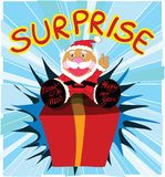 Surprise gift with Santa cartoon design Stock Photos