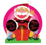 Surprise gift with Santa cartoon design Stock Images