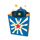 Surprise Gift Shopping Bag Icon Symbol Illustration.  royalty free illustration