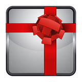 Surprise gift silver square button  Royalty Free Stock Images