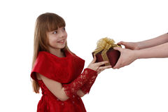 Surprise. Girl feels shy. Royalty Free Stock Images