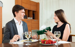 Surprise girl in love to the man Stock Image