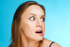 Surprise. Girl whose face contorted with surprise Stock Photography