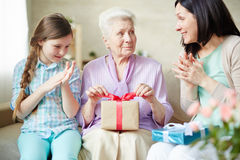 Surprise for grandmother Stock Image