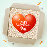 Surprise with a heart inside, illustration on Valentine's Day for design Royalty Free Stock Photo