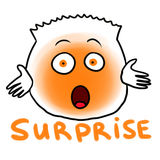 Surprise. Illustration of one of the basic human emotions - surprise. Orange creature with surprised expression on its face - wide opened eyes and mouth.  on Royalty Free Stock Photo