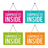 Surprise inside hanging Door Sign. Eps10 Vector. Birthay or boxing day surprise box royalty free illustration