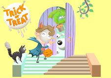 Surprise knocking neighborhood Door for trick or treat at Halloween day royalty free illustration