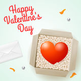 Surprise with a letter and a cardboard box with a heart inside, illustration on Valentine's Day for design Stock Photos