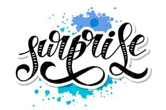 Surprise lettering Calligraphy Brush Text Holiday Vector Sticker Watercolor. Surprise lettering Calligraphy Brush Text Holiday Vector illustration Watercolor stock illustration