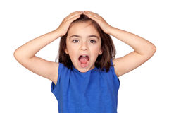Surprise little girl. Isolated on a over white background Stock Photo