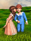 The Surprise Love Kiss. A young boy and girl share a special kiss. Romance and love are in the air Royalty Free Stock Photos